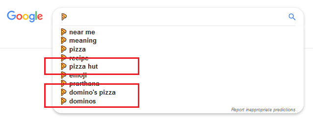 Pizza emoji search suggestions